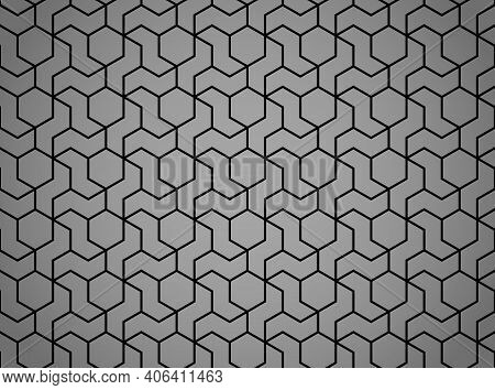 The Geometric Pattern With Lines. Seamless Vector Background. Black And Gray Texture. Graphic Modern