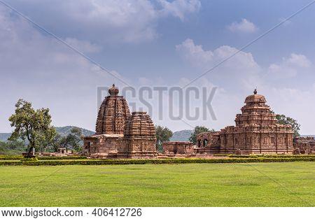 Bagalakote, Karnataka, India - November 7, 2013: Pattadakal Temple Complex. Wide Green Park Landscap