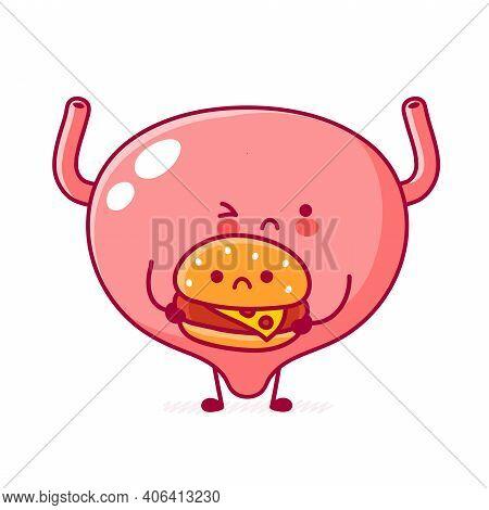 Cute Sad Funny Human Bladder Organ Character With Burger. Vector Flat Line Cartoon Kawaii Character
