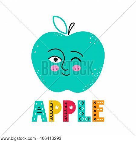 Cute Happy Smile Apple Fruit. Vector Simple Flat Cartoon Scandinavian Character Hand Drawn Illustrat