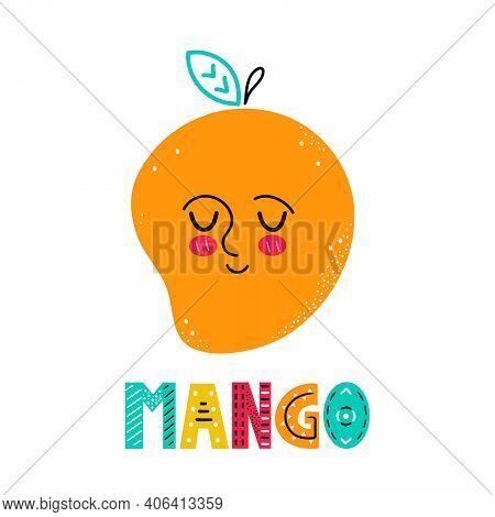 Cute Happy Smile Mango Fruit. Vector Simple Flat Cartoon Scandinavian Character Hand Drawn Illustrat