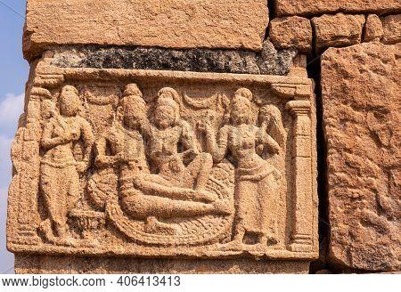Bagalakote, Karnataka, India - November 7, 2013: Pattadakal Temple Complex. Closeup Of Damaged Brown