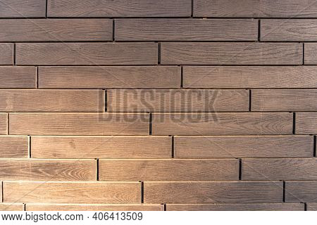 Building Cladding With A Ventilated Facade, Wooden Texture, Gray Wood Pattern