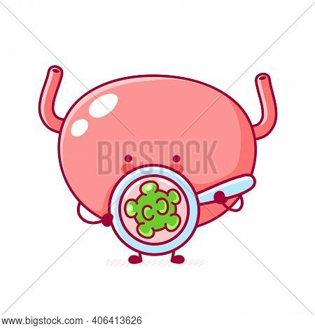 Cute Funny Human Bladder Organ Character Look At Virus. Vector Flat Line Cartoon Kawaii Character Il