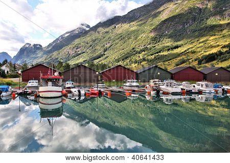 Norway Sogn of Fjordane county. Fishing harbor Nordfjord in Olden. poster
