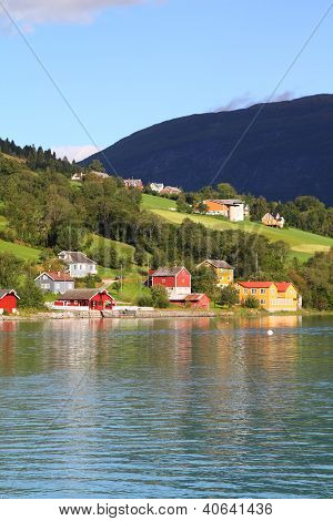 Norway Sogn of Fjordane county. Rural architecture next to Nordfjord in Olden. poster