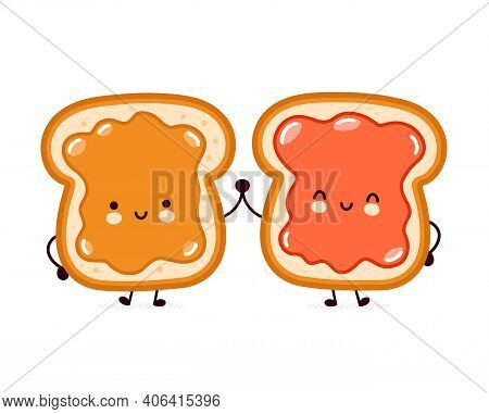 Cute Funny Bread Toast With Peanut Butter And Jam Character. Vector Flat Line Cartoon Kawaii Charact