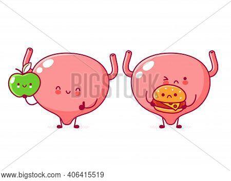 Cute Human Bladder Organ Character With Apple And Burger. Vector Flat Line Cartoon Kawaii Character