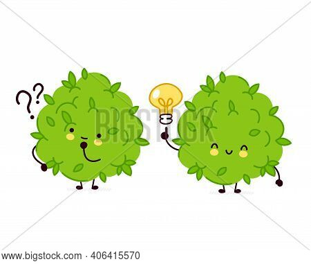 Cute Funny Marijuana Weed Bud Character With Question Mark And Idea Lightbulb. Vector Flat Line Cart