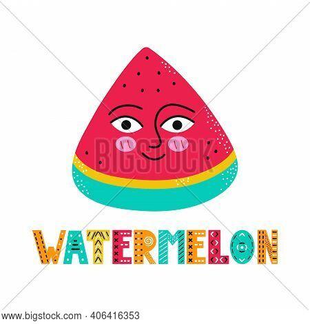 Cute Happy Smile Watermelon Fruit. Vector Simple Flat Cartoon Scandinavian Character Hand Drawn Illu