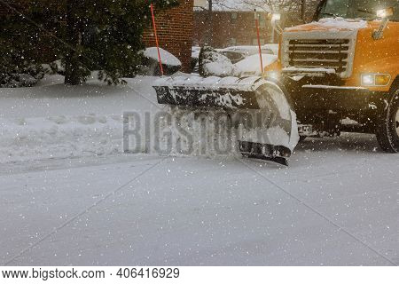 Tractor Clears Snow Removal After Snowfall Blizzards Clearing