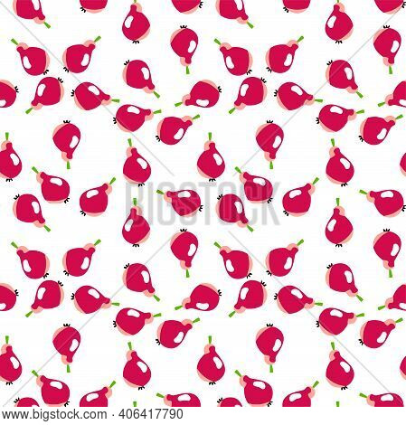 Pink Pears On White Chaotic Seamless Pattern Vector. Funny Cartoon Fruits Complex Pattern. Pears Fru