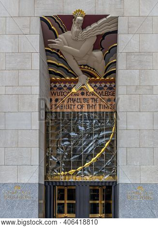 New York,usa-march 6,2020: Entrance To The Top Of The Rock Building From Rockefeller Center, In Rock