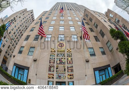 New York, Usa - March 6, 2020: Large Angle View Of Equinox Rockefeller Center Building From Rockefel