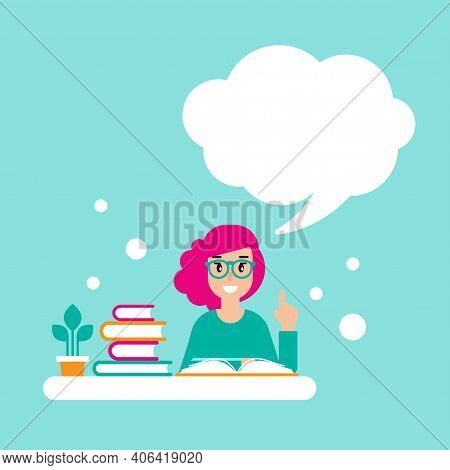 Happy Girl With Red Glasses, Books And Speech Bubble. Creative Teacher. Giving Advice . Flat Vector