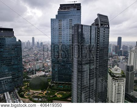 Aerial View Of Ascott Hotel In Jakarta And Noise Cloud With Cityscape. Ascott Hotel Is The Biggest H
