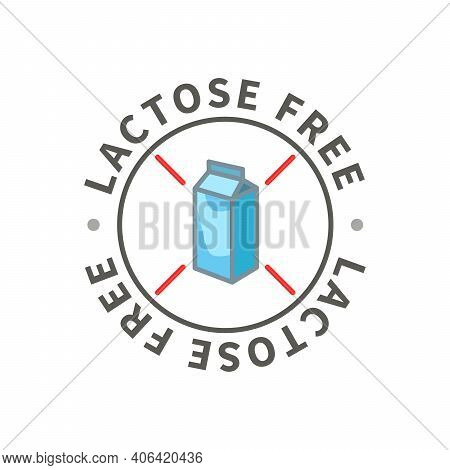 Simple Allergen Icon, Lactose Free Sign On White