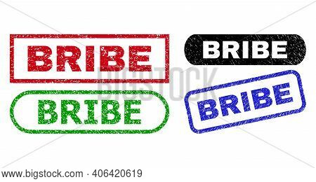 Bribe Grunge Seal Stamps. Flat Vector Distress Seal Stamps With Bribe Phrase Inside Different Rectan