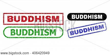Buddhism Grunge Stamps. Flat Vector Distress Stamps With Buddhism Tag Inside Different Rectangle And