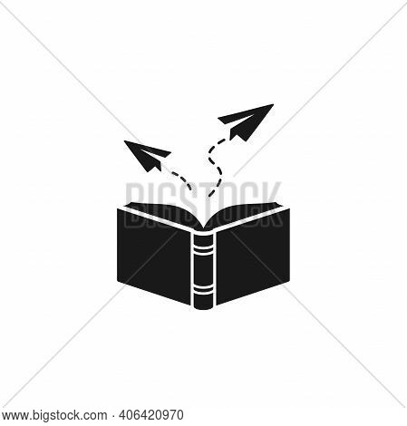 Open Line Book With Paper Planes Flying Out. Isolated On White Background. Flat Vector Reading Icon.