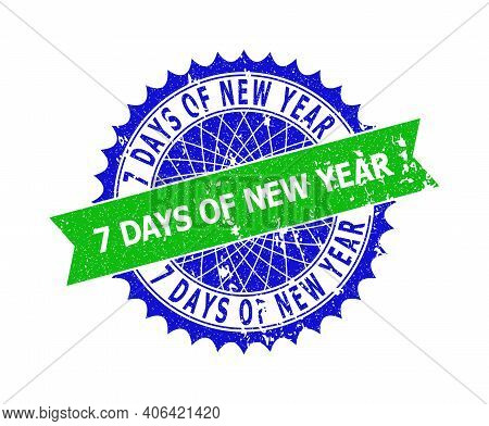 Vector 7 Days Of New Year Bicolor Stamp Seal With Rough Style. Blue And Green Colors. Flat Seal Stam