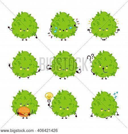 Cute Funny Marijuana Weed Bud Character Set Collection. Vector Flat Line Cartoon Kawaii Character Il