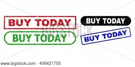 Buy Today Grunge Seal Stamps. Flat Vector Scratched Seal Stamps With Buy Today Message Inside Differ
