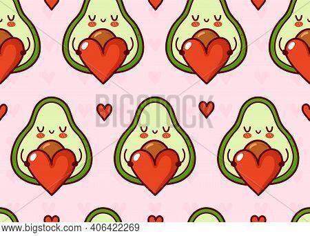 Cute Funny Avocado With Heart Seamless Pattern. Vector Flat Cartoon Kawaii Character Illustration Ic