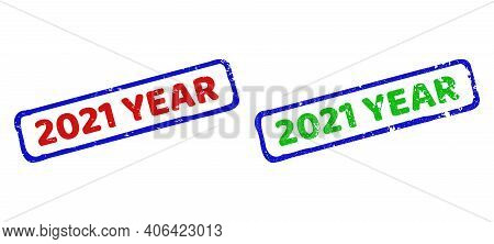 Vector 2021 Year Framed Watermarks With Scratched Style. Rough Bicolor Rectangle Watermarks. Red, Bl