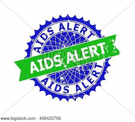 Vector Aids Alert Bicolor Stamp Seal With Scratched Surface. Blue And Green Colors. Flat Seal Stamp