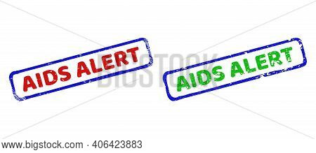Vector Aids Alert Framed Imprints With Grunged Style. Rough Bicolor Rectangle Seal Stamps. Red, Blue