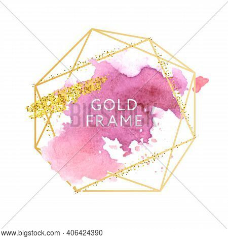 Pink, Rose, Nude And Golden Brush Strokes In Gold Hexagon Frame On A White Background. Vector Design