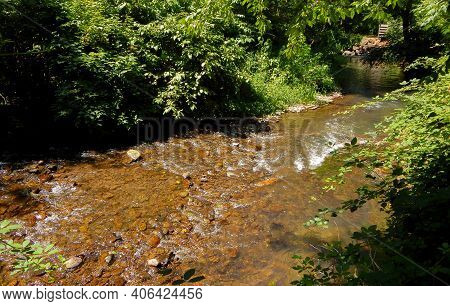 Small River In The Valley - A View Along The River At Roaring River County Park - Near Lacomb, Or