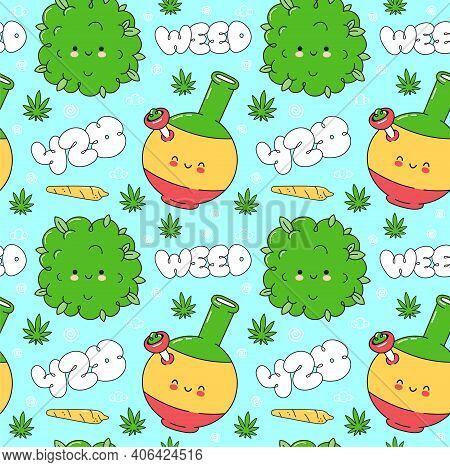 Weed Marijuana Seamless Pattern. Vector Flat Cartoon Kawaii Character Illustration Icon Design. Trip