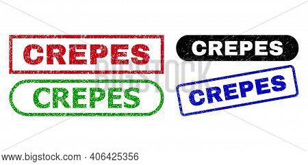 Crepes Grunge Seal Stamps. Flat Vector Textured Stamps With Crepes Message Inside Different Rectangl