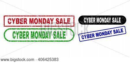 Cyber Monday Sale Grunge Watermarks. Flat Vector Scratched Watermarks With Cyber Monday Sale Caption