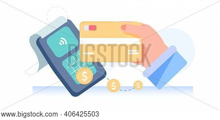 Vector Cartoon Flat Characters Hand Makes Nfc Contactless Payment.arm Holding Nfc Smart Credit Card,