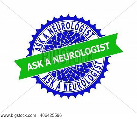 Vector Ask A Neurologist Bicolor Template For Watermarks With Clean Surface. Flat Clean Seal Stamp W