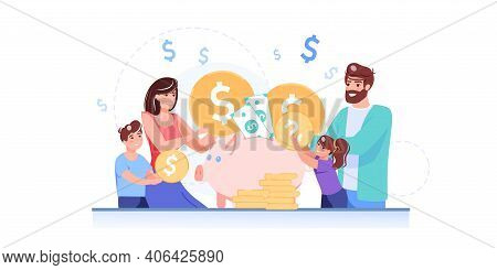 Vector Cartoon Flat Happy Family Characters Put Gold Coins In Piggy Bank.parents Kids Saving Money,