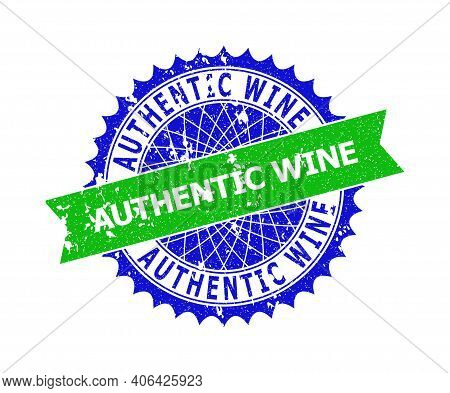 Vector Authentic Wine Bicolor Stamp Seal With Scratched Style. Blue And Green Colors. Flat Seal Stam