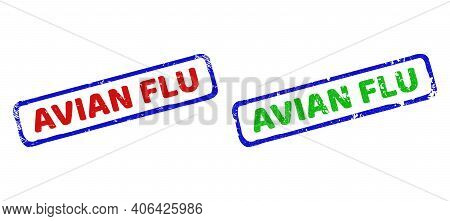 Vector Avian Flu Framed Watermarks With Scratched Style. Rough Bicolor Rectangle Seal Stamps. Red, B