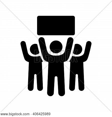 Crowd Of People Standing And Holding In Raised Hands Sign, Banner, Card Vector Glyph Icon. Demonstra