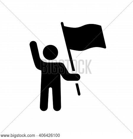 Man Standing And Holding In Hands Flag, Banner Vector Glyph Icon. Demonstration, Protest, Strike, Re