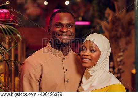National Wedding. Bride And Groom. Wedding Muslim Couple During The Marriage Ceremony. Muslim Marria