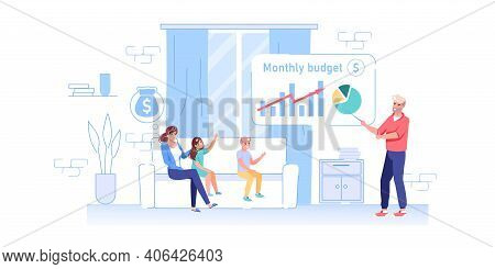 Vector Cartoon Flat Family Characters, Teacher In Home Education Class Business Course.parents Kids