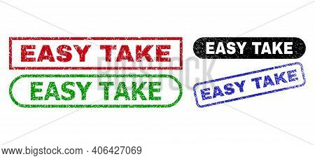 Easy Take Grunge Stamps. Flat Vector Scratched Seal Stamps With Easy Take Message Inside Different R
