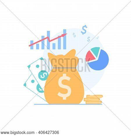 Vector Cartoon Flat Financial Symbols For Education Class Business Course.gold Coins, Money Bag, Gra