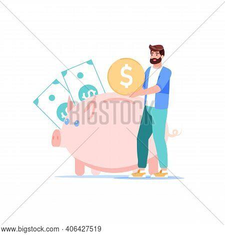 Vector Cartoon Flat Character Put Gold Coin In Piggy Bank.man Saving Money, Follow Home Budget Finan