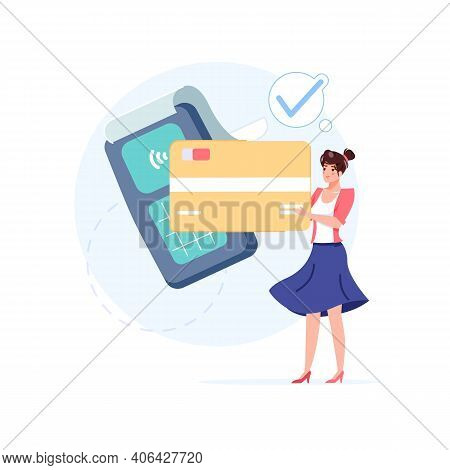 Vector Cartoon Flat Girl Character Makes Nfc Contactless Payment.happy Customer Buy Goods, Make Wire