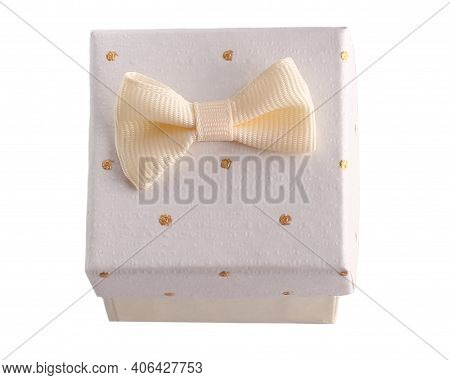 White Gift Box Isolated On White. Gift Box With Place For Text. For Birthday, Xmas, Anniversary Pres